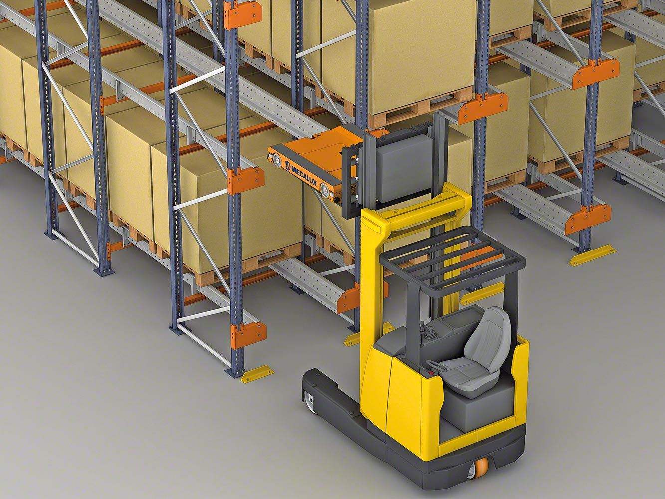 The Pallet Shuttle is placed on the level where work is to be done