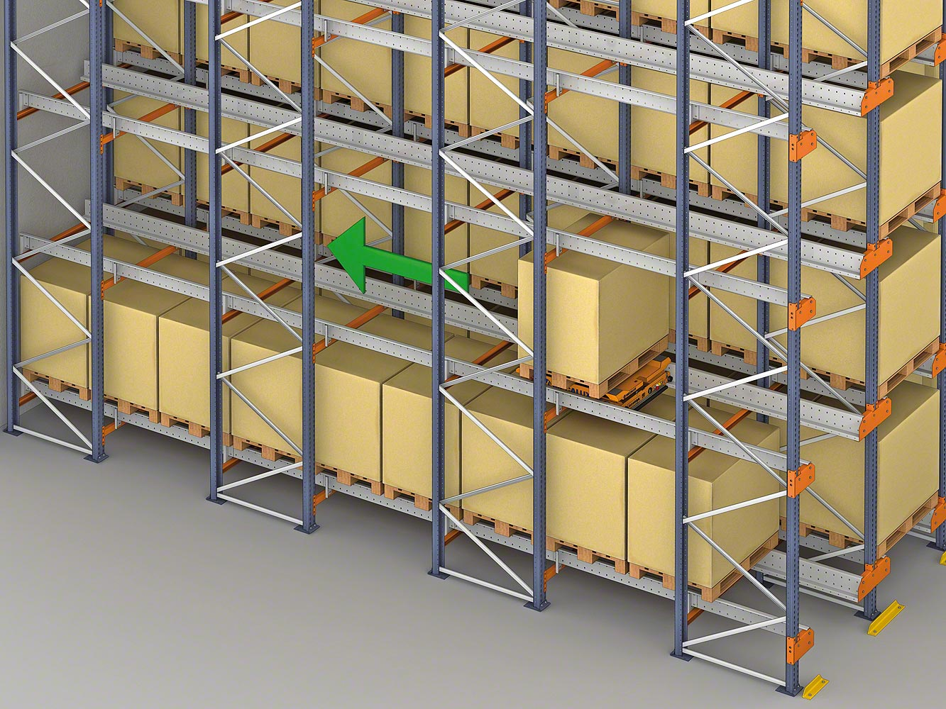 The Pallet Shuttle slides the pallets horizontally to the nearest available space
